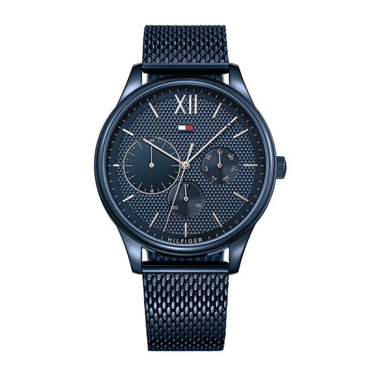 Ανδρικό ρολόι TOMMY HILFIGER 1791421 Damon με ημερομηνία, ημέρα, 24ωρη ένδειξη, μπλε καντράν & μπρασελέ | Ρολόγια TOMMY HILFIGER ΤΣΑΛΔΑΡΗΣ στο Χαλάνδρι #tommyhilfiger #damon #λουρι