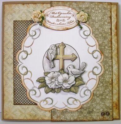 Condoleance kaart met knipvel, borduur en dessinpapier