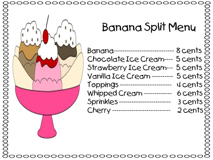 """The kids had to build their own banana splits based on a menu with each item costing a certain amount. They had to draw and color it and then figure out how much their banana split would cost. A great way to review money as well as checking their thinking when it comes to adding several numbers together. I kept hearing, """"I've never added this many numbers together before!"""""""