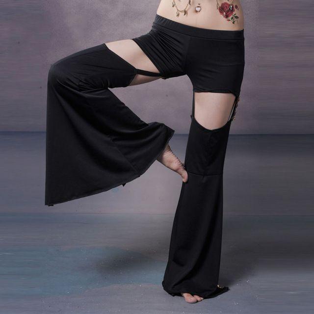 2016 Femmes Noir Ventre Tribal de danse pantalon ouverture de la formation de danse pantalon de danse du ventre ouvert pantalon NMMP003