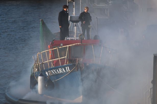 WALES ONLINE (July 14, 2016) ~ SHERLOCK (BBC) stars Benedict Cumberbatch and Martin Freeman filming a Season 4 episode scene on the smoke-filled tugboat in Cardiff Bay on July 13, 2016. [Article, Photos & Video]