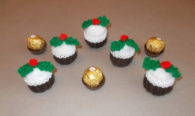 Adorable Christmas pudding Ferraro Roche covers (knitted)