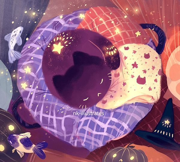 Night Cat. I'm currently spring cleaning both my illustration blog and this blog to start the new year! I'll mostly be moving things around and such. :)