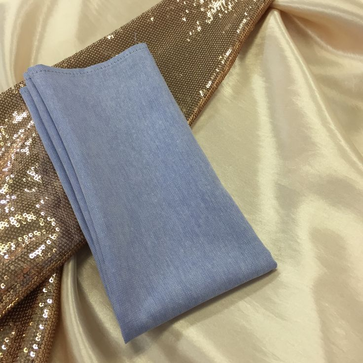 Blush sequins, blush silk  and the beautiful serenity blue napkin...what a combo...