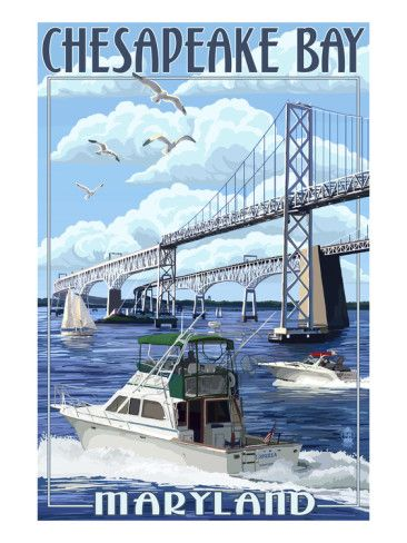 Chesapeake Bay Bridge - Maryland Prints by Lantern Press at AllPosters.com