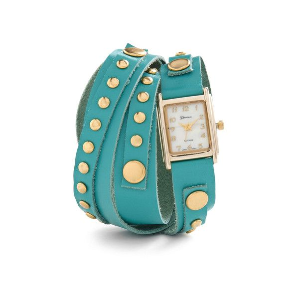 ModCloth Wrap-sody ($30) ❤ liked on Polyvore featuring jewelry, watches, bracelets, accessories, blue, leather band bracelet, wrap watch bracelet, blue watches, snap jewelry i studded bracelet
