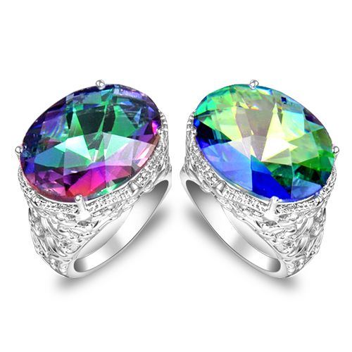 fashion brand wedding rings aneis de diamante silver plated jewelery mystic created Crystal rings