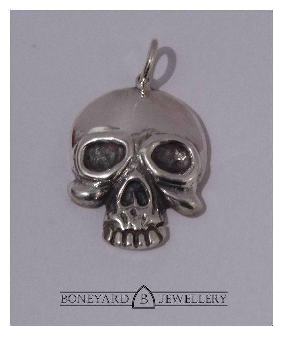 Heavy Solid Sterling Silver Skull Pendant by BoneyardJewellery