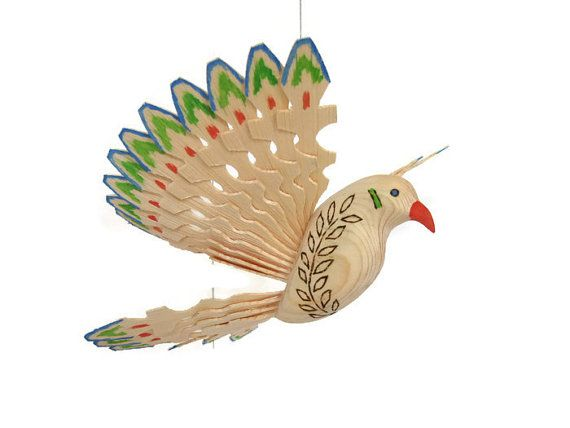 Wooden Dove with Olive Branch Carved Bird Art Folk by MyFanbirds