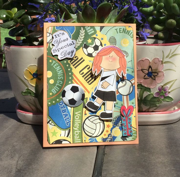 Birthday Card for Little Girl / Girl Playing Soccer Card / Young Child Birthday Card / Card for Sister / Card for Grandchild / Soccer Card by EGirlsCraftCreations on Etsy