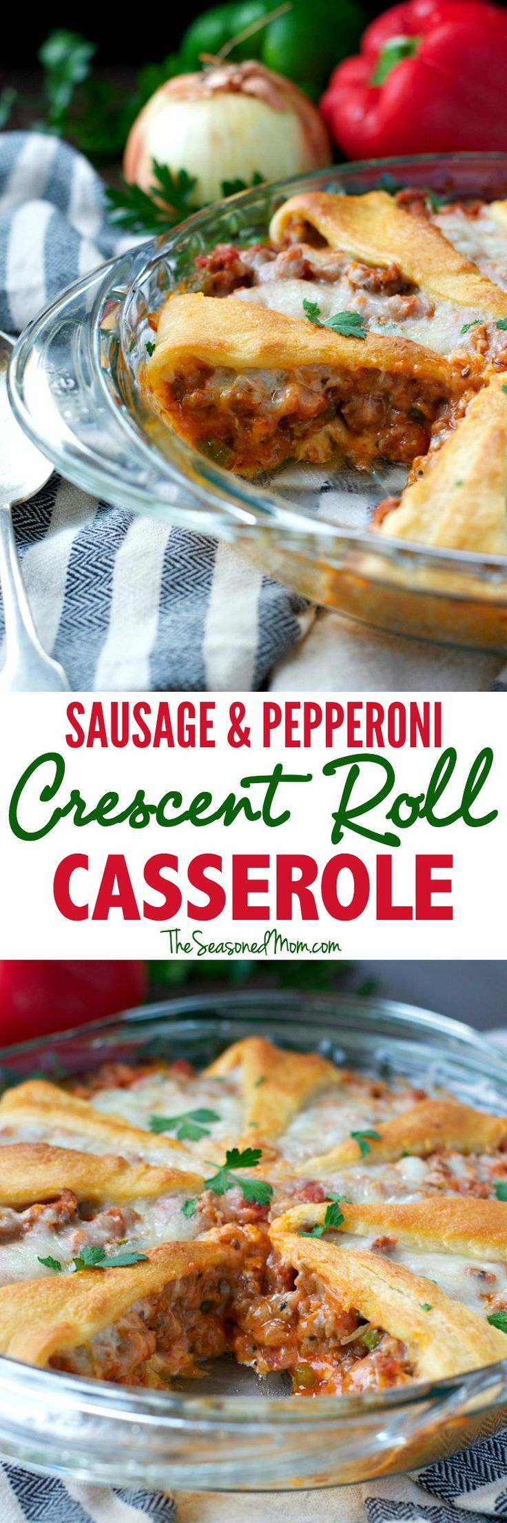 Ready for an easy weeknight meal? This Sausage & Pepperoni Crescent Roll Casserole is sure to be a hit.