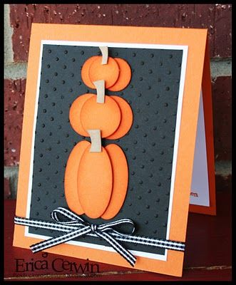 I love the classic look of this orange and black stack of pumpkins on this handmade Halloween card - perfect for adults and inspired from a pumpkin topiary!