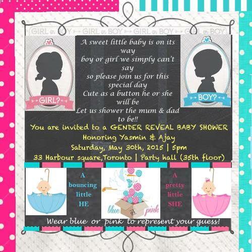 Gender reveal baby shower invite