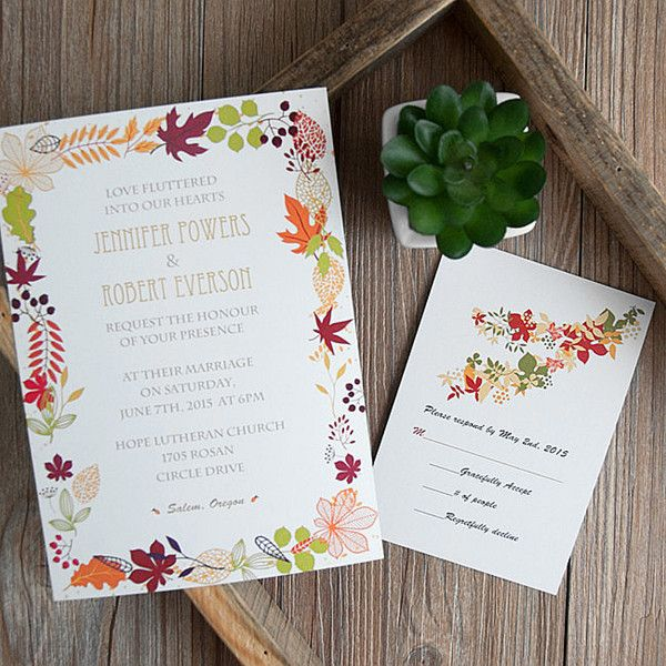 106 best Fall invitations images on Pinterest Marriage Wedding