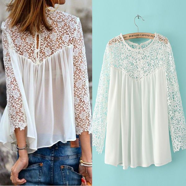 Sexy Women Lady Celeb Summer Chiffon Lace White Loose Short Shirt Blouse Tops