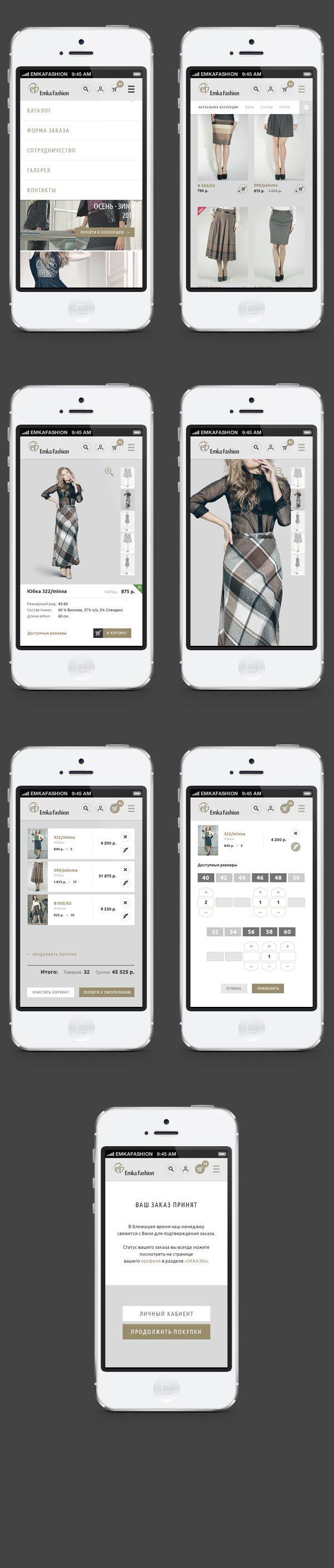 Interface d'un utilisateur d'un site de magasinage pour mobile