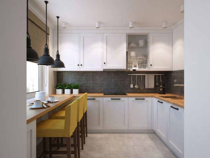 Kitchen:Exquisite Small U Shaped Kitchen With Ample Storage Space And Iron Hanging Lamp Plus Yellow Kitchen Stools Small U Shaped Kitchen Ideas for Efficient in Limited Space
