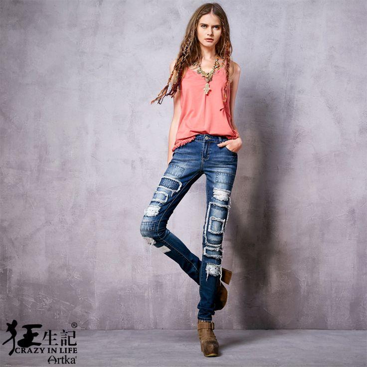 Узкие джинсы с потертостями и заплатками спереди на штанинах, 526083958953 купить за 6120 руб. с доставкой по России, Украине, Беларуси и миру | Джинсы | Artka: интернет-магазин обуви и одежды Artka