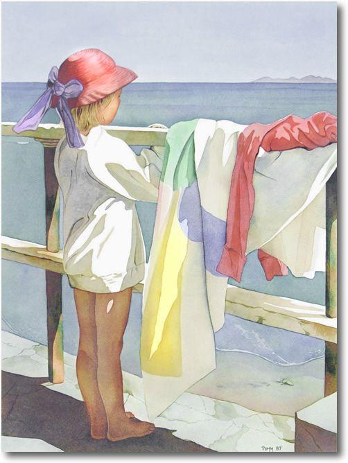 Magnifique image illustrant une fillette portant un chapeau rose à ruban violet, observant la mer.