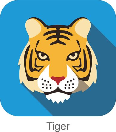 Tiger, Cat breed face cartoon flat icon design
