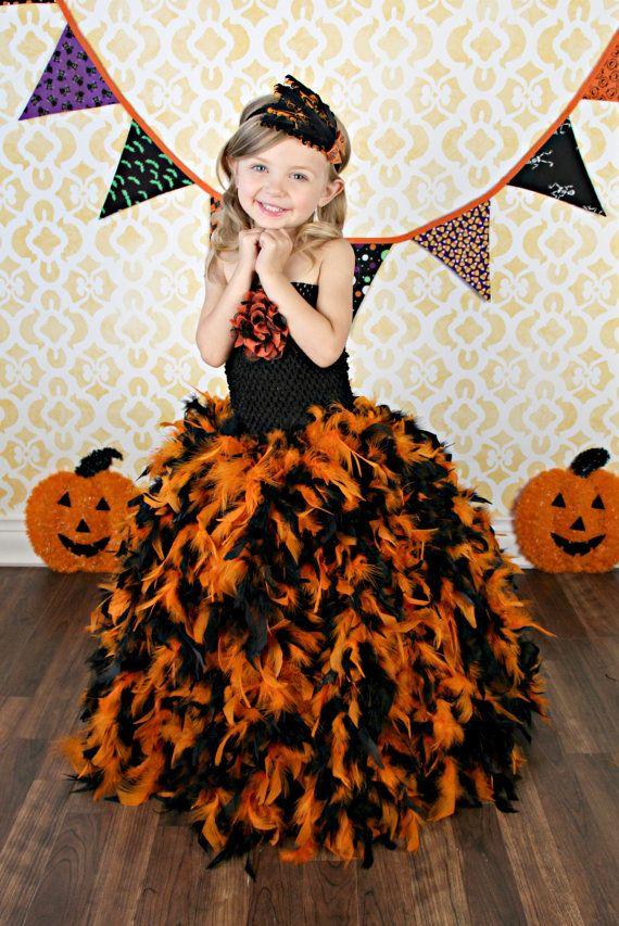 Newborn Size 5 Halloween Feather Tutu Dress by krystalhylton