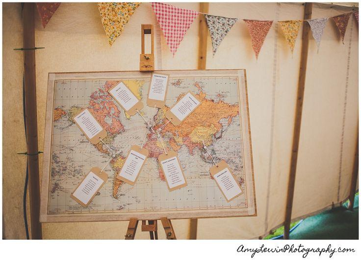 Travel world map wedding seating plan