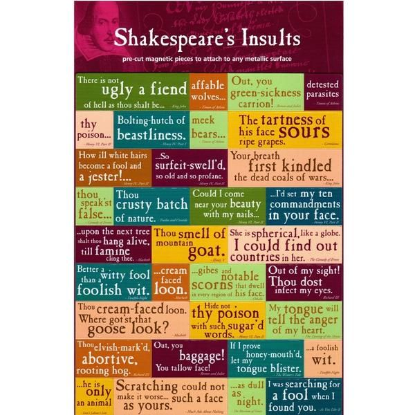 Large Magnet Set from the Shakespeare's Insults range. 63 Piece Magnet Set featuring Insulting Quotes found in Shakespeare's plays and sonnets.