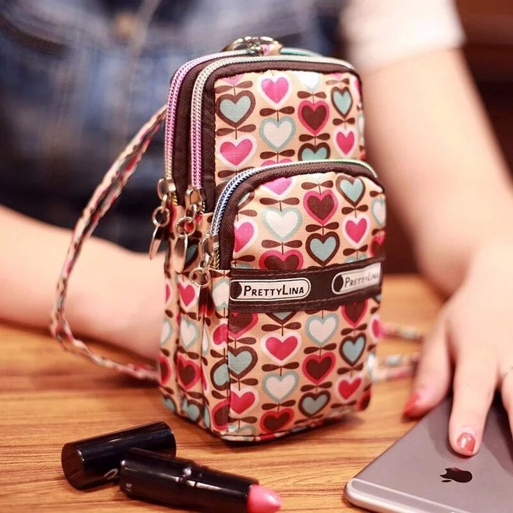 Mini Fashion Pattern Zipper Sport Shoulder Bag Wrist Purse For iPhone Samsung Xiaomi