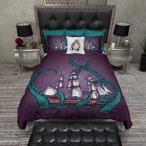 Navy Blue Octopus Tentacle Bedding Cream Purple Bedding Duvet Bedding Sets Bedding Sets
