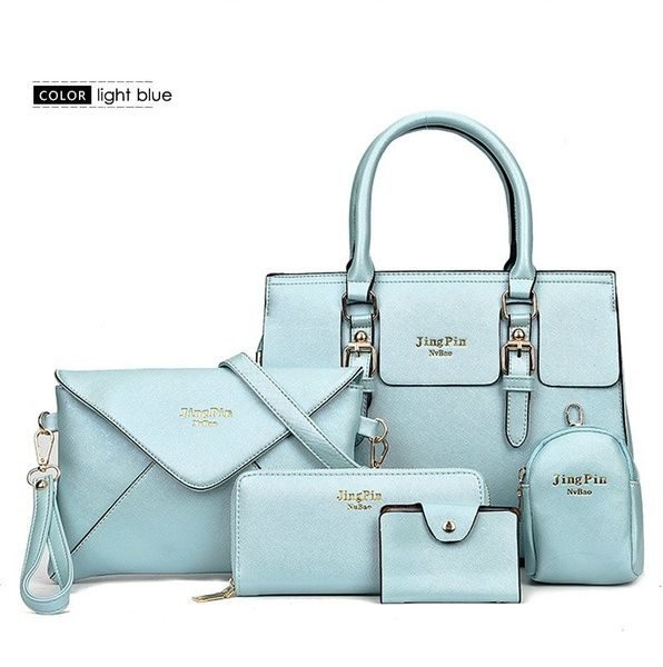 88154d3c2ae0a Women 5 Piece set Handbag import leather Totes Messenger bag ...