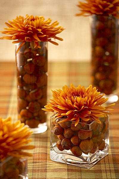 Fill vases with hazel nuts, Once the vases are filled, fill the vessels with water. Top the arrangement off with a single mum... so pretty!