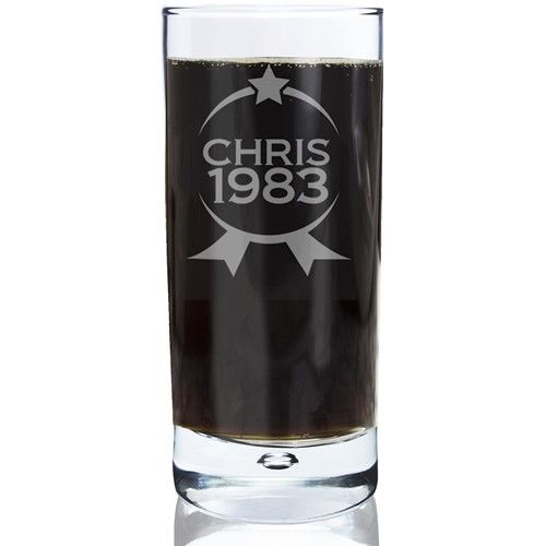 Personalised Bubble Hi Ball Glass - Name and Year Badge  from Personalised Gifts Shop - ONLY £14.99