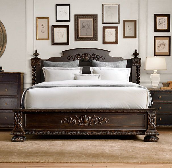 Restoration Hardware French Empire Bed in Antique Black