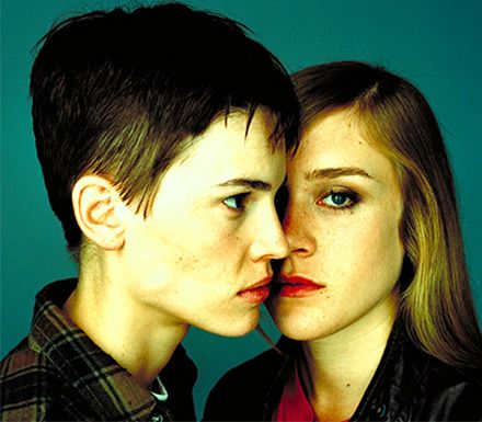 Chloë Sevigny and Hilary Swank as Lana Tisdel and Brandon Teena in Kimberly Peirce's Boys Don't Cry (1999).
