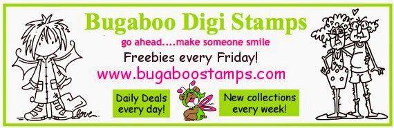 Purple and Ribbon card challenge sponsor - Bugaboo Digi Stamps