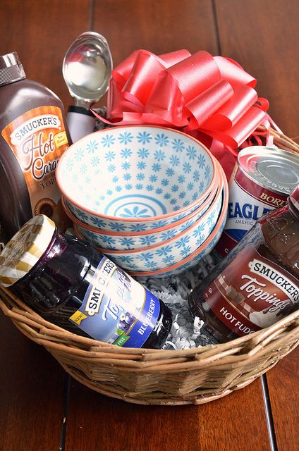 Smuckers Gift Basket or make it into an ice cream theme basket.