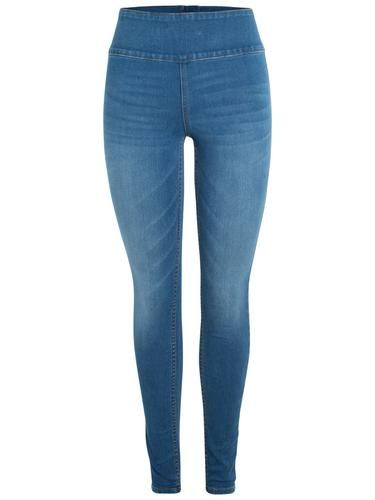 #PIECES #Damen #High #Waist #Washed #Jeggings #blue #denim - High Waist - Jeggings - Gewaschene Optik - Slim Fit Jeans - Reißverschluss hinten - 2 Gesäßtaschen