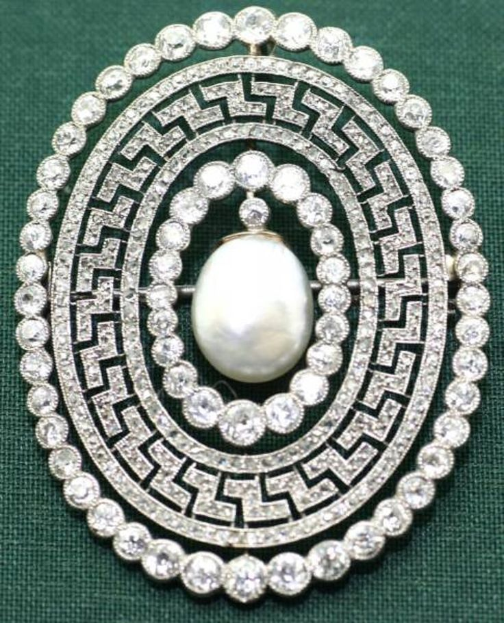 A Belle Epoque diamond and pearl brooch