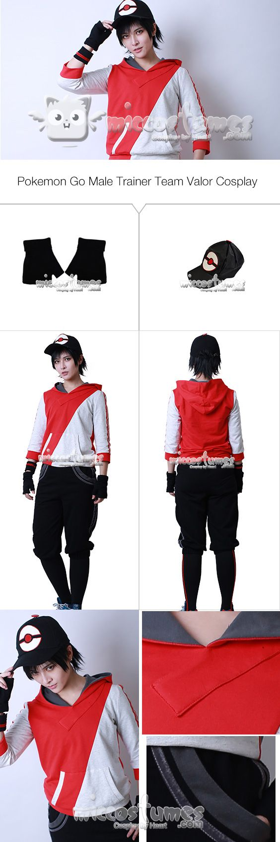More details of Pokemon Go Male Trainer Team Valor Cosplay Costume sells at  #miccostumes #cosplay #pokémongo #teamvalor #Cosplaycostumes