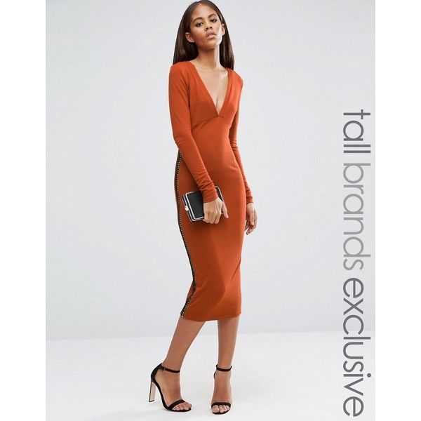 Naanaa Tall Plunge Front Midi Dress With Lattice Side Detail (€52) ❤ liked on Polyvore featuring dresses, orange, bodycon cocktail dress, bodycon dress, cutout dresses, midi cocktail dress and cut out midi dress