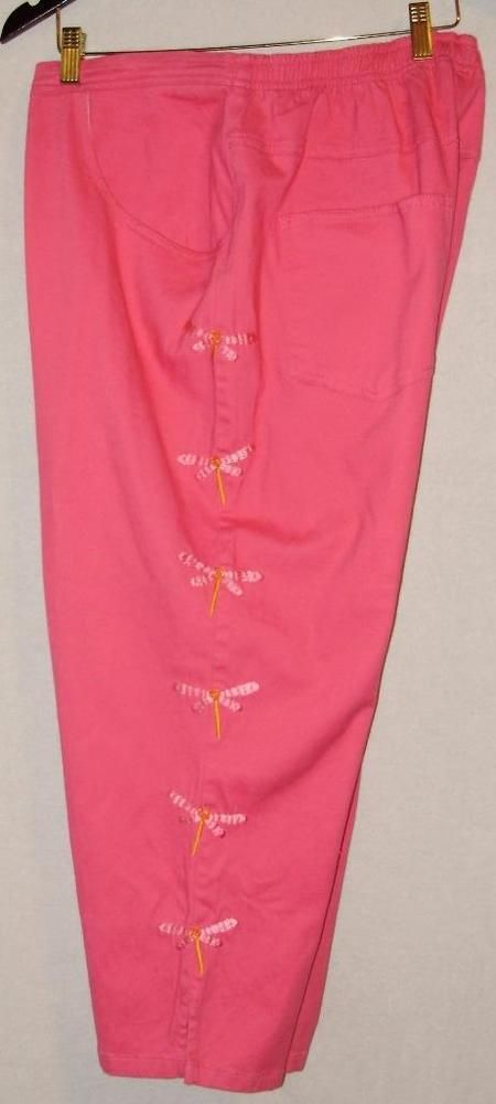 Womens plus size pink capri pants-1X-Quacker Factory pink denim & dragonfly #QuackerFactory #CaprisCropped