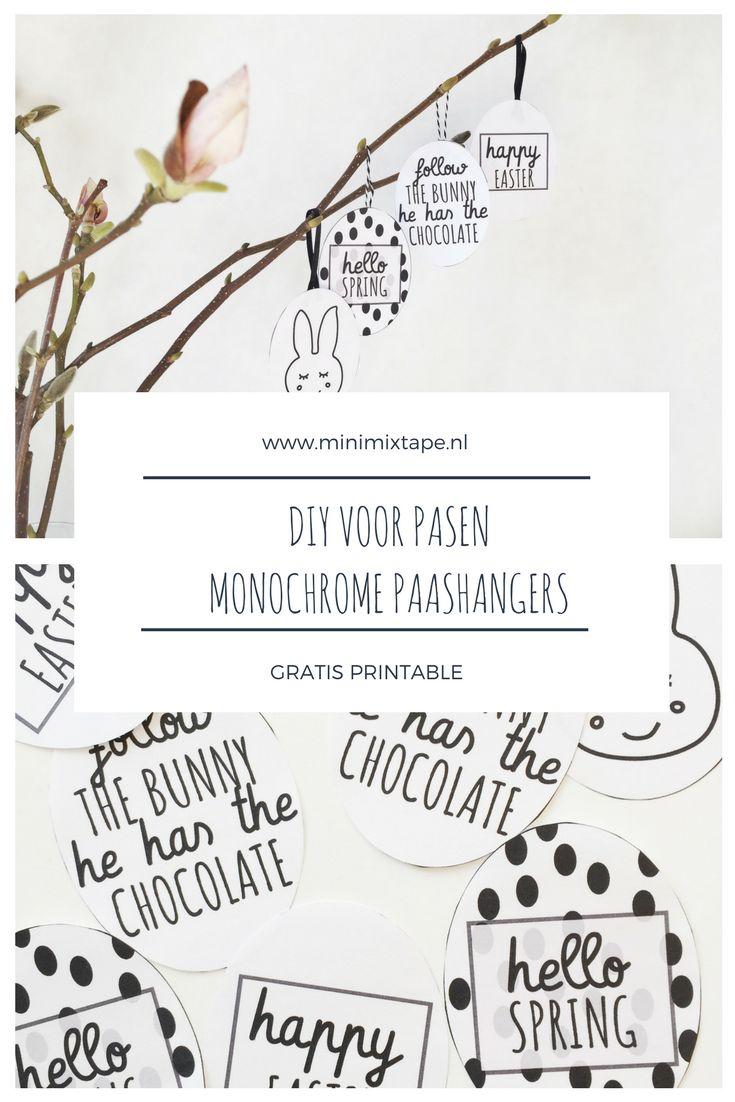 Pasen printables - gratis printables om monochrome paasdecoratie voor de paastak te maken. Download de free printables Pasen in zwart/wit via het blog.