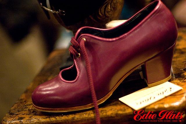 Carmen Flamenco Shoe with Cubano heel. Senovilla Flamenco Shoes available at Edie Hats.