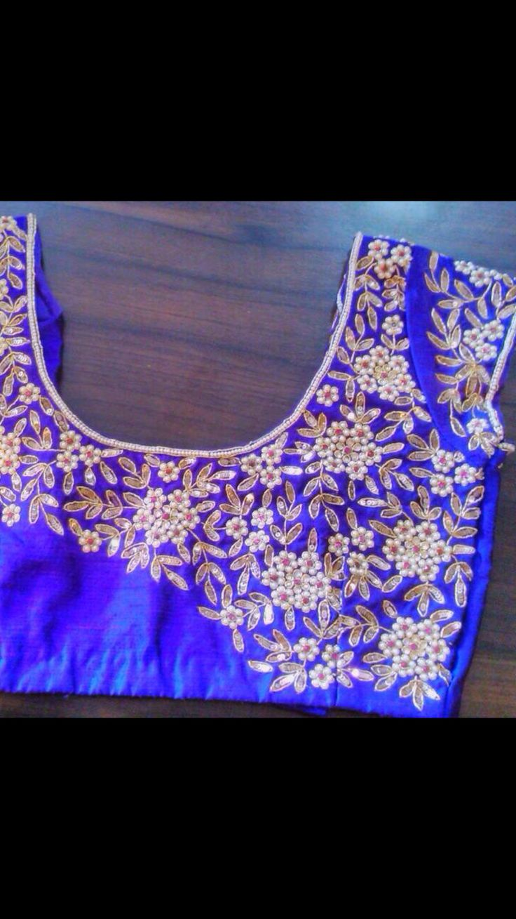Jardosi and Beads work on blouse.. designer look get it done at http://mytailor.in/