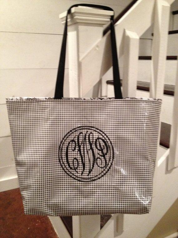 Large Tote Bag/ Monogrammed Bag/ Personalized Tote Bag/ BlackTote ...