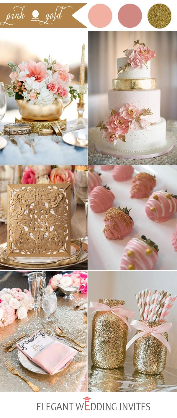 ideas de la boda de oro rosa y color para 2017