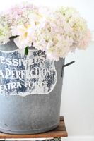 Vintage French Zinc Bucket With Antique Label