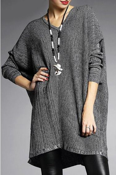 V Neck Loose-Fitting Knitwear ==