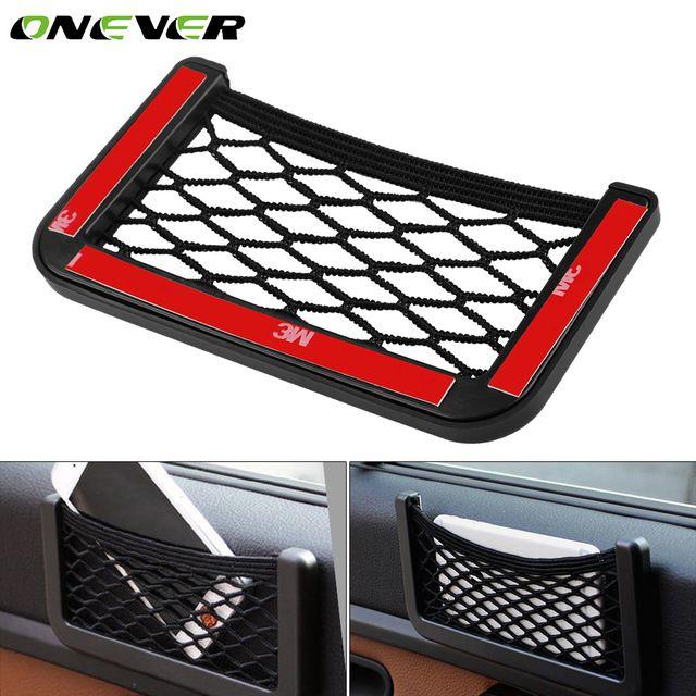 Car Hanging Storage Net Mobile Phone Pocket Holder Auto Elastic String Mesh Bag