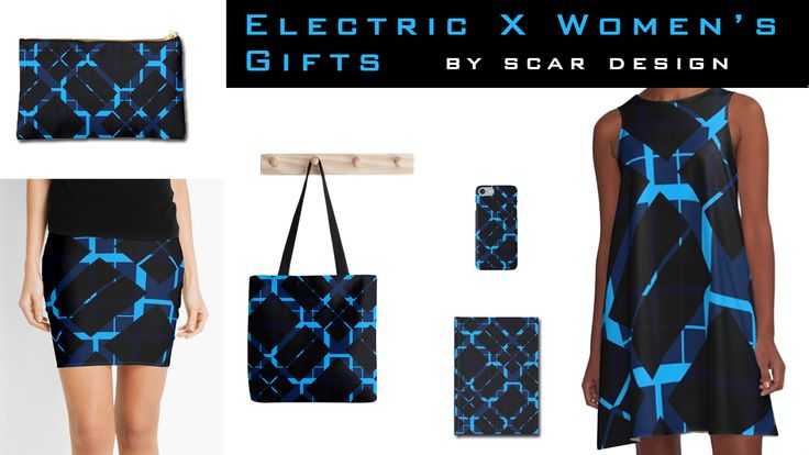 Electric X Women's Gifts by Scar Design. #moderndress #modernskirt #womengifts #totebag #modernpouch #iPhonecase #modernjournal #moderngifts #giftsforher #plaid #plaiddress #plaidskirt #plaidgifts #redbubble #scardesign #summerdress #alinedress #summer #summer2017 #fashion #womanstyle #style #summerstyle
